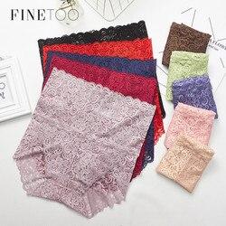 FINETOO Sexy Lace Underwear High Waist Women Panties Plus Size Briefs Fashion Female Lingerie M-XXXL Panty Transparent Thongs
