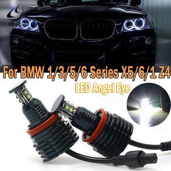 PMFC Fog Lights Headlight H8 Can bus Error Free 80W LED Angel Eye for BMW Lights Bulbs For BMW E60 E61 E71 E70 LCI E90 E91 X5 image