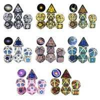 7 unids/set de Metal de aleación de poliédrico dados D20 D12 D10 D8 D6 D4 para DND RPG MTG juego de mesa Pilares de dado