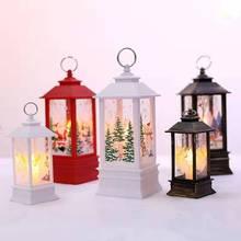 Ретро подвесной светильник со светодиодными свечами, винтажный замок, лампа с пламенем, вечерние поставки свечей, клетки лося, Санта Клауса, печать, новогодний декор