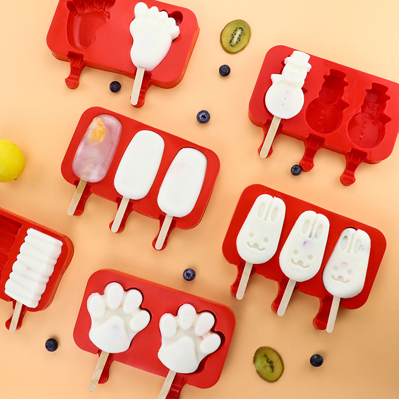 Silicone Popsicle Mold Ice Pop Mold Tray Holder with Lid Durable Cake Ice Cream Popsicle Maker with Wooden Stick