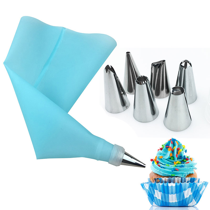 8Pcs/set Stainless Steel 6 Nozzle 12-inch EVA Cream Squeeze Bag And Small Converter Cake Tools Bakeware Kitchen Accessories Pakistan