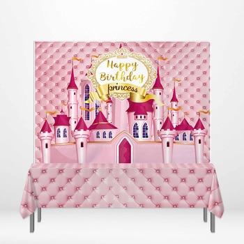 Allenjoy photography backdrop Princess pink castle headboard birthday party curtains decoracion backgrounds photocall studio