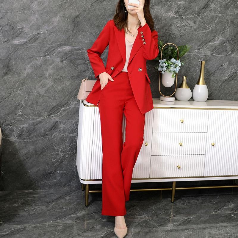 Large size M-5XL high quality female suit pants two-piece suit Autumn and winter new ladies office jacket Elegant wide-leg pants