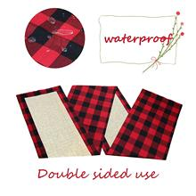 Cotton Burlap Buffalo Plaid Table Runner, Waterproof Reversible Tablerunners for Lumberjack Party Supplies Farmhouse Home Decor