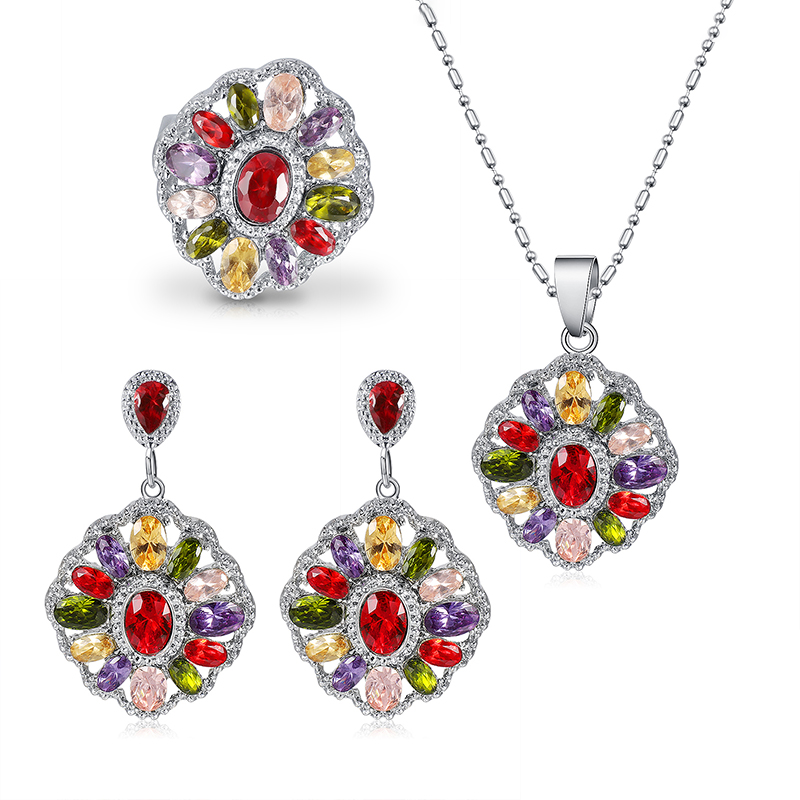 Elegant Colorful Austria Crystal Necklace Earring Ring Sets Women Fashion Silver Wedding Party Jewelry Sets