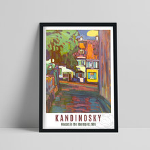 Wassily Kandinsky Exhibition Museum Poster, Kandinsky Houses In Murnau On Obermarkt Print, Vintage Town Scenery Picture Decor
