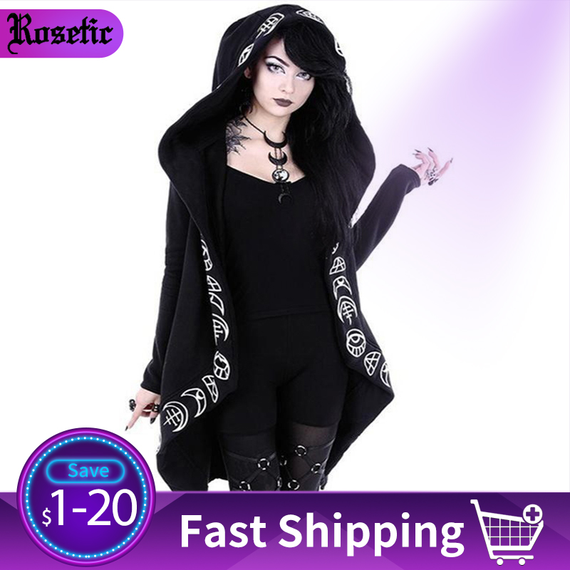 Rosetic Hoodies Gothic Casual Cool Chic Black Plus Size Women Sweatshirts Loose Sweatshirt Hooded Plain Print Female Punk Hoodie