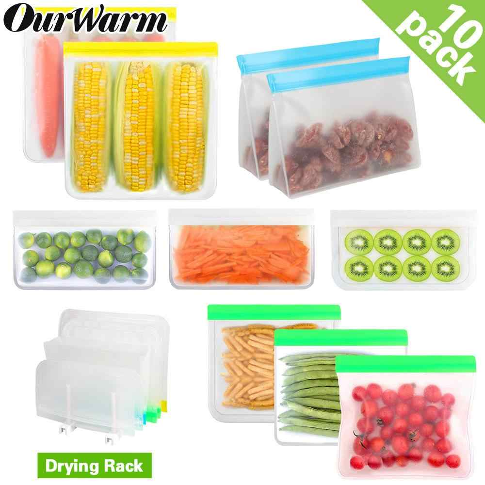 10pcs reusable silicone food storage bag peva eco friendly leakproof ziplock bags reusable stand up freezer bag with drain rack