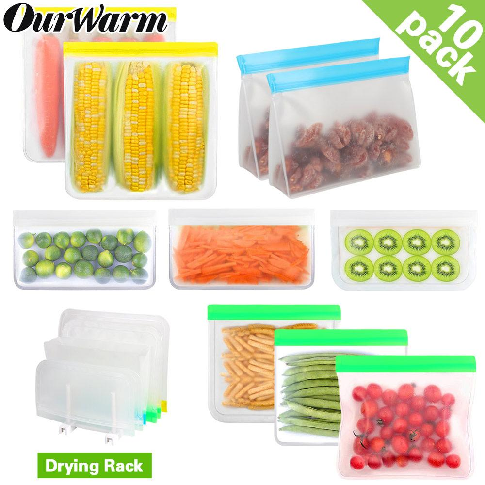 10pcs Silicone Food Storage Bags Containers Leakproof Containers Stand Up Zip Shut Bag Cup Fresh Bag Food Reusable Grocery Bags