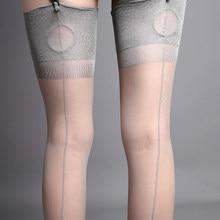 Retro cubana calcanhar volta costura meias 8d ultra fino transparente coxa alta meias femininas lingerie erótica medias de mujer