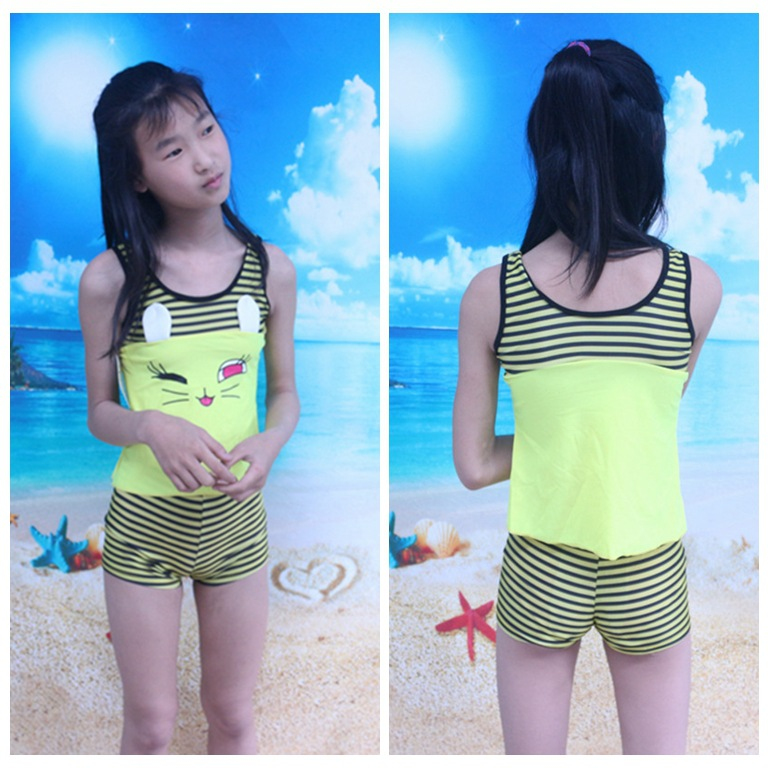 2018 New Products Girls Split Type Two-Piece Bathing Suit Korean-style Boxer Beach Tour Bathing Suit CHILDREN'S Swimsuit