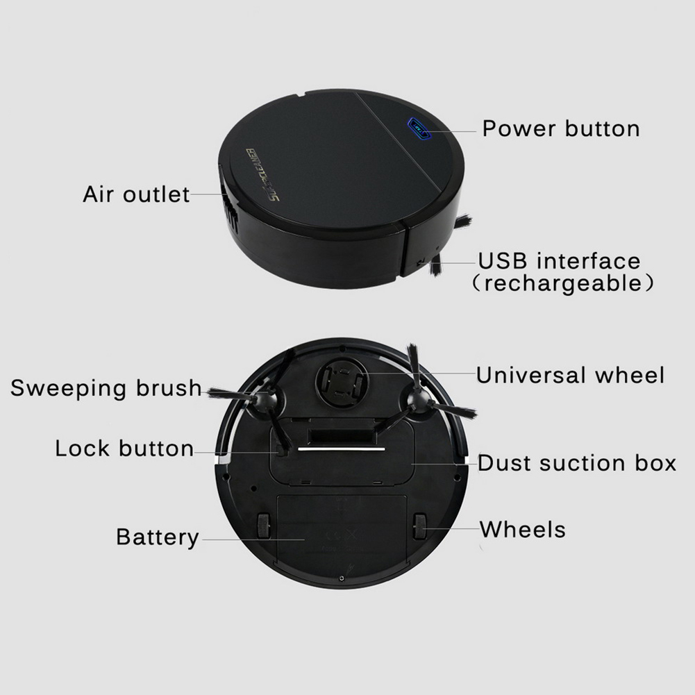 Powerful Home Floor Dirt Office Hair Vacuum Cleaner Anti-fall Rechargeable Auto Sweeping Robot Gift USB Toy Dust Electric