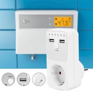 Image 4 - Dual Usb Eu Plug Timing Socket Tijdschakelaar Countdown Outlet Controller Smart Elektrische Huishoudelijke Socket Plug Adapter