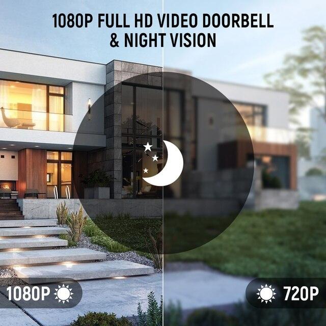 EKEN V7 HD 1080P akıllı kablosuz WiFi Video kapı zili kamera Video interkom gece görüş PIR kapı zili kablosuz gözetim kamera