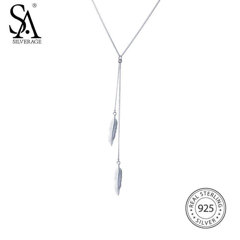 SA SILVERAGE Feather พู่สร้อยคอจี้เงินแท้ 925 สร้อยคอเครื่องประดับ Fine เงินจี้สำหรับผู้หญิง