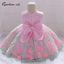 Puffy Tulle Lace Flower Kids First Communion Dresses Back Satin Bow Knot Girl Wedding Dresses Lace Skirt Little Bride Dress