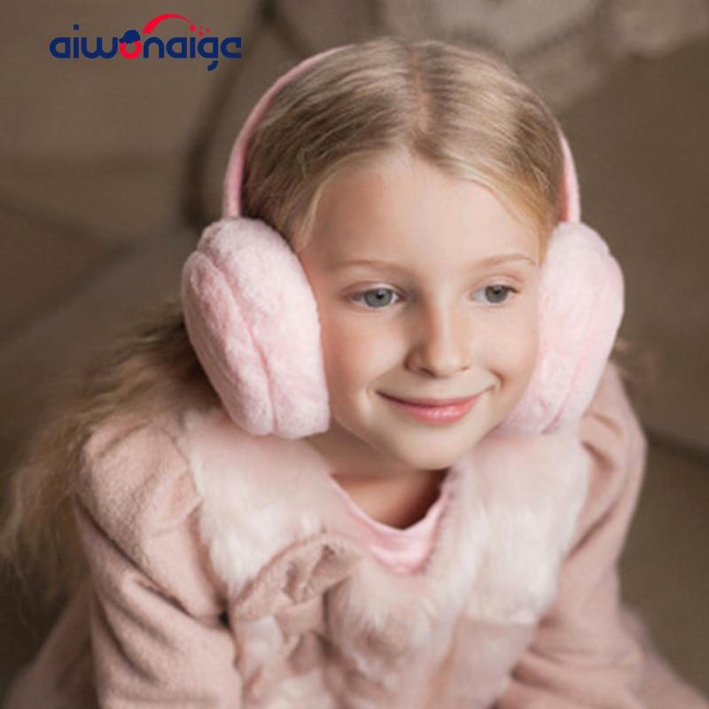2019 Solid Color Children's Winter Warm Earmuffs Boys And Girls Warm Headphones Fluff Comfort Baby Headphones Ski Warm Earmuffs