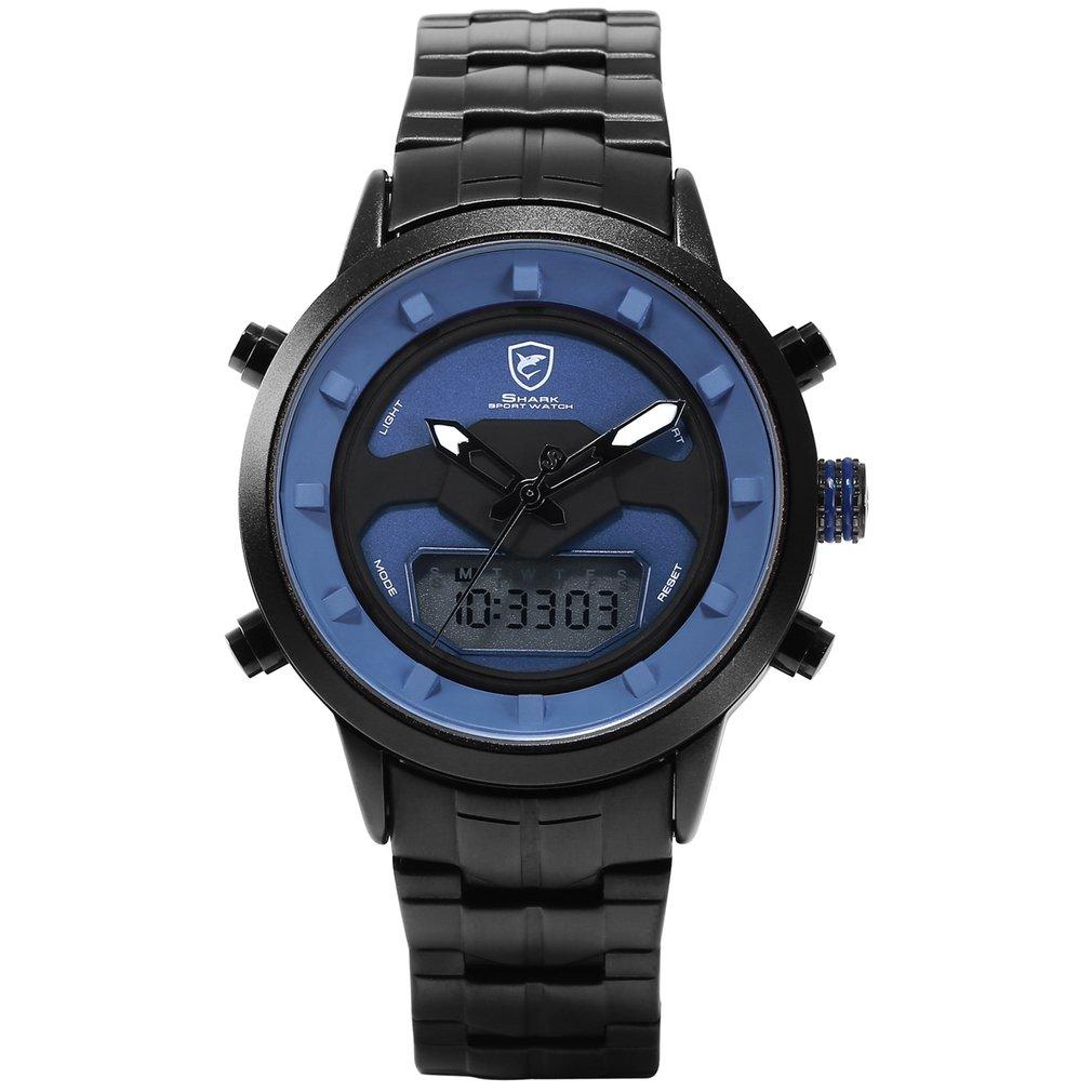 Shark Sport Men Watch White Outdoor Hiking Men Digital Date LCD Electronic Quartz Steel Band Watches Chronograph Clock 2019