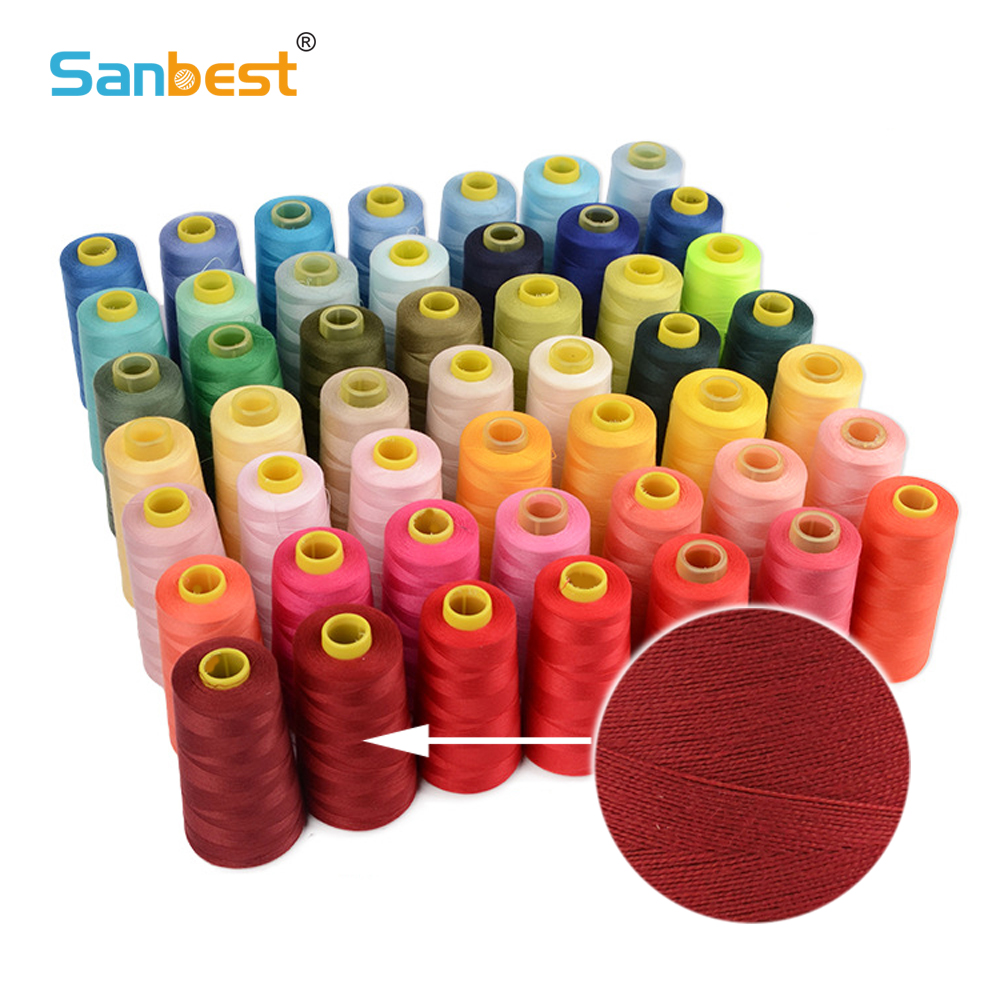 Sanbest 4pcs 100% Spun Polyester Sewing Thread 3000 Yards 40s/2 High Speed Sewing Machine Overlocking Hand Stitching TH00004