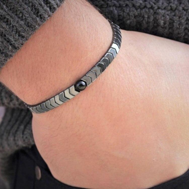 Набор мужских браслетов из гематита и натурального камня в стиле панк, простые браслеты ручной работы из бисера, крутые мужские украшения