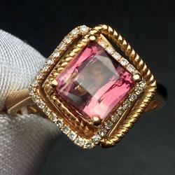 Женское кольцо из арбуза и турмалина, Золотое кольцо 18 карат с 100% натуральным арбузом и турмалином карата, изящное кольцо