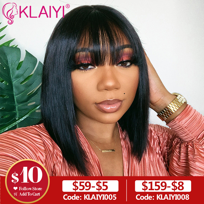 Klaiyi Hair Straight Bob Human Hair Wigs With Bang 8-14 Inch Pre Plucked Brazilian Remy Hair 13*4 Lace Front Wig 150% Density