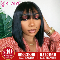 Klaiyi Hair Straight Bob Human Hair Wigs With Bang 8 14 inch Pre Plucked Brazilian Remy Hair 13*4 Lace Front Wig 150% Density