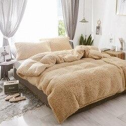 Artificial cordeiro cashmere tecido de cama coral velo capa edredão cor sólida padrão colcha fronhas veludo linho