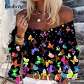 Шикарная пикантная блузка с открытыми плечами в стиле бохо, рубашки, летняя женская рубашка с принтом бабочки, топы, весна 2020, элегантная руб...