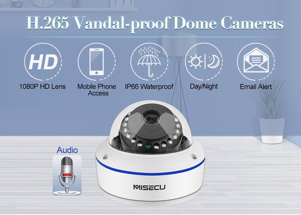 MISECU Super HD 5MP 4MP 2MP Surveillance IP POE Camera 1080P Audio Microphone Dome Indoor Security Camera Email Push ONVIF P2P