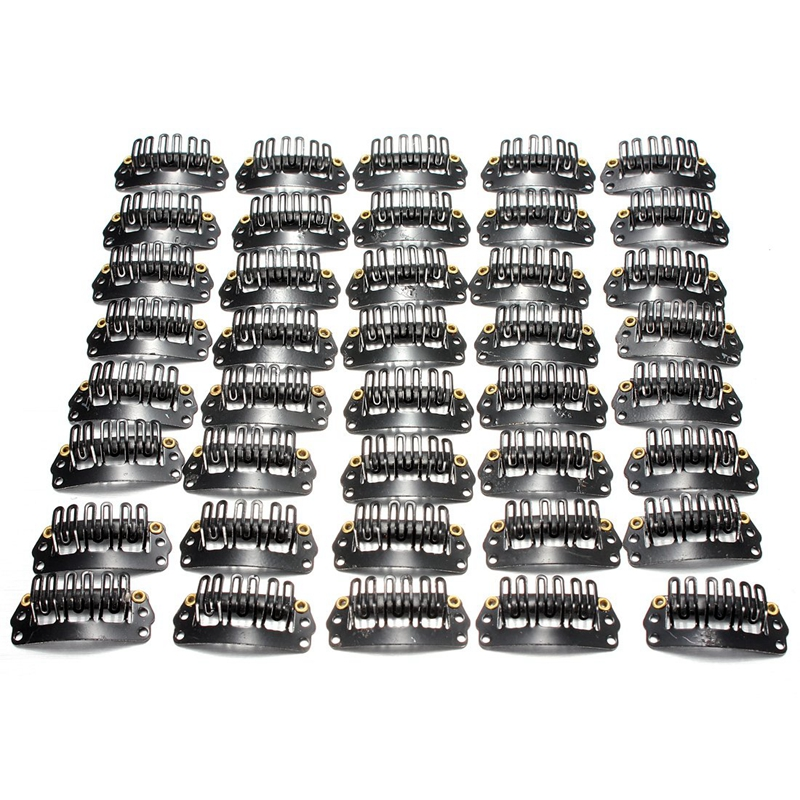 BEST40pcs U-shaped Clamp For Hair Extensions Wig Clips DIY Comb Black Frame