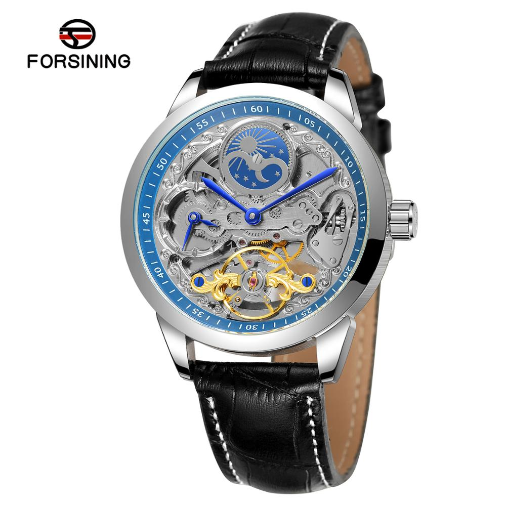 FORSINING 2020 Top Brand Men Skeleton Automatic Mechanical Watch Leather Strap Moon Phase Tourbillon Waterproof Clock Relogio