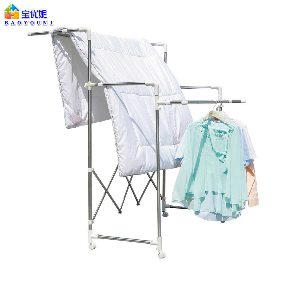 baoyouni 3 tiers rolling clothes drying rack foldable laundry rack adjustable quilt hanging shelf large capacity quilt rack
