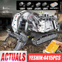 DHL Technic Car Toys Compatible With 42100 Liebherr R 9800 Excavator Motor Crane Set Kids Christmas Toys Building Blocks Bricks