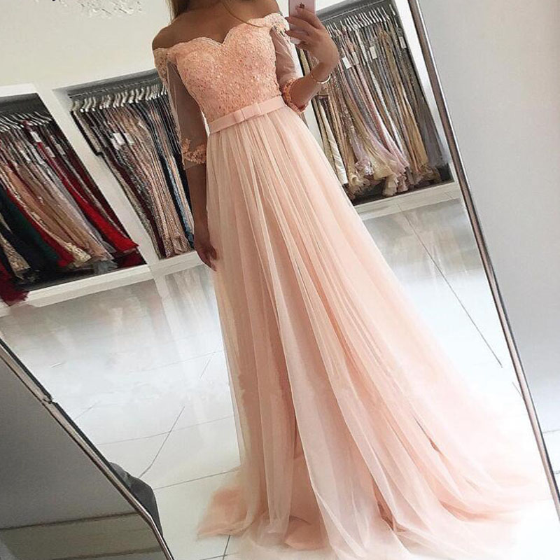 Cheap Plus Size Prom Dresses Blush Pink Lace Womern Prom Gowns With Half Sleeve Floor Length Sash Prom Party Gowns 2020 vestidos