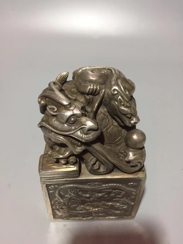 4 cm China Copper Bronze Animal Auspicious Turtle Seal Stamp Signet Statue