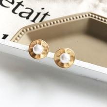 купить Fashion Pearl Stud Earrings Mattel Golden Sweet Jewelry Vintage Statement Earrings For Girls Women Gifts 2019New дешево