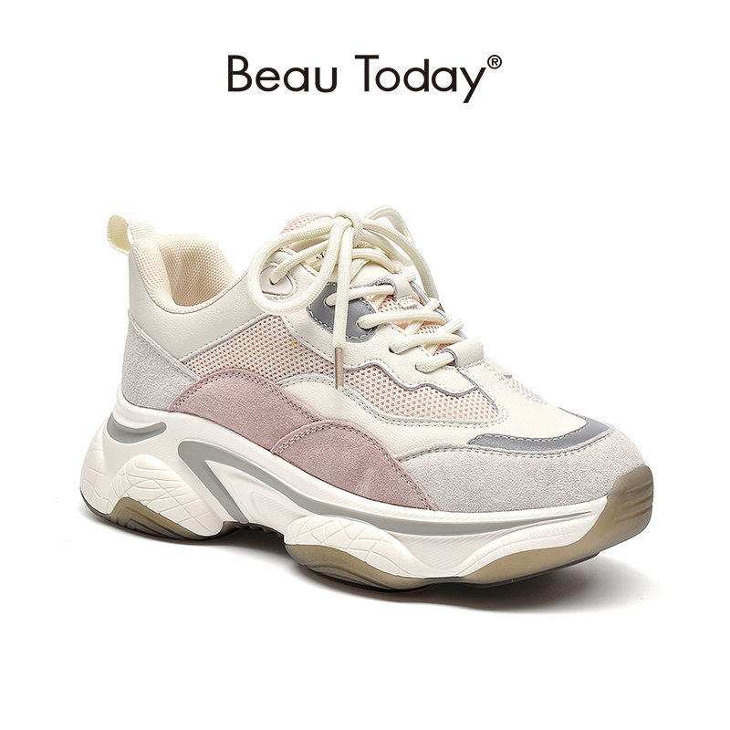 BeauToday Fashion Chunky Sneakers Women Genuine Cow Leather Mixed Colors Cross-Tied Platform Lady Casual Shoes Handmade 29352