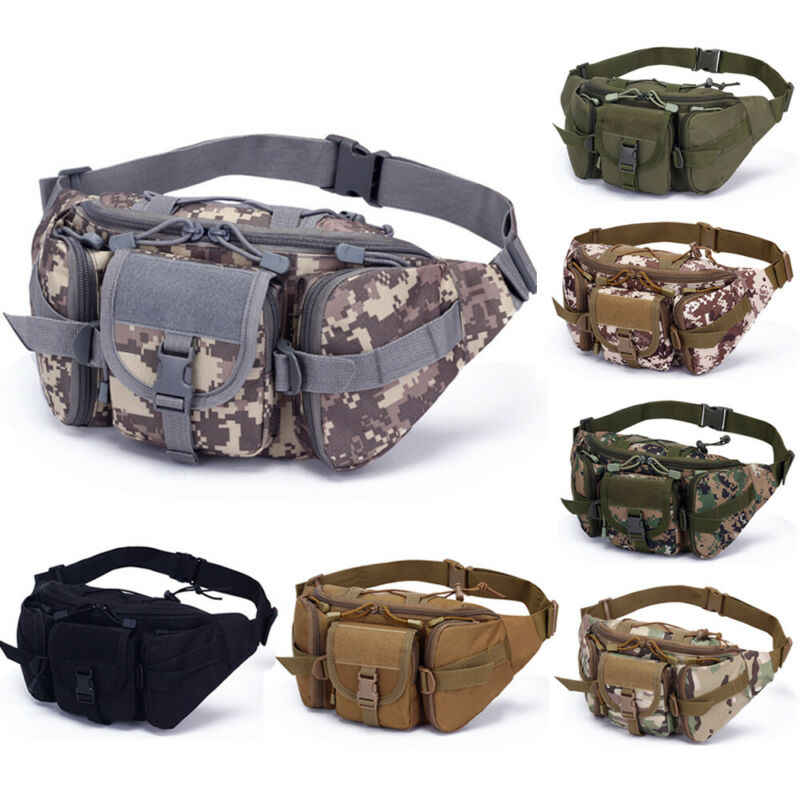 Tactical Waist Bag Pack Belt Bum Bag Molle Pouch Military Camping Hiking Outdoor
