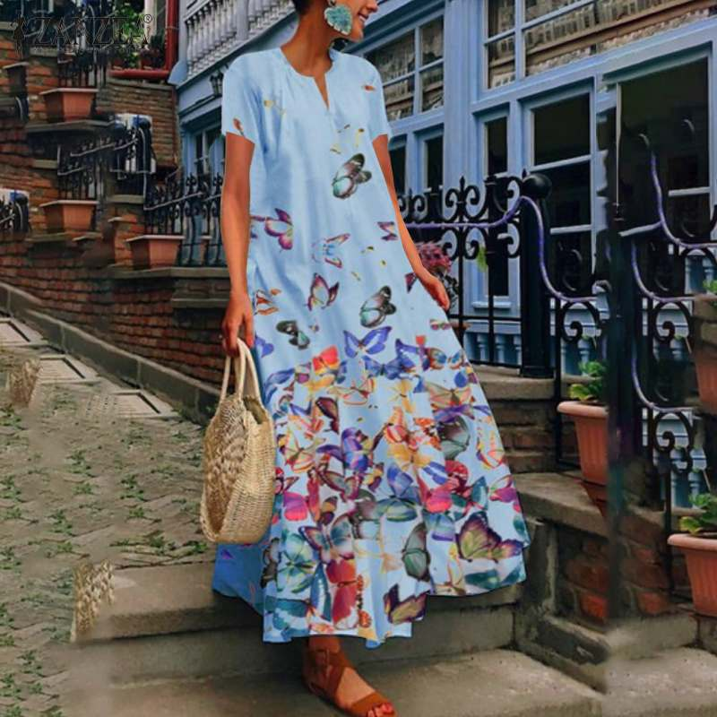 ZANZEA 2020 Stylish Summer Sundress Women's Print Maxi Dress Casual Short Sleeve Vestidos Female O Neck Robe Femme Plus Size