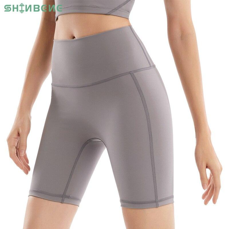 SHINBENE NO Camel Toe Nylon Biker Workout Gym Long Shorts Women High Waist Plain Squat Proof Fitness Workout Athletic Shorts