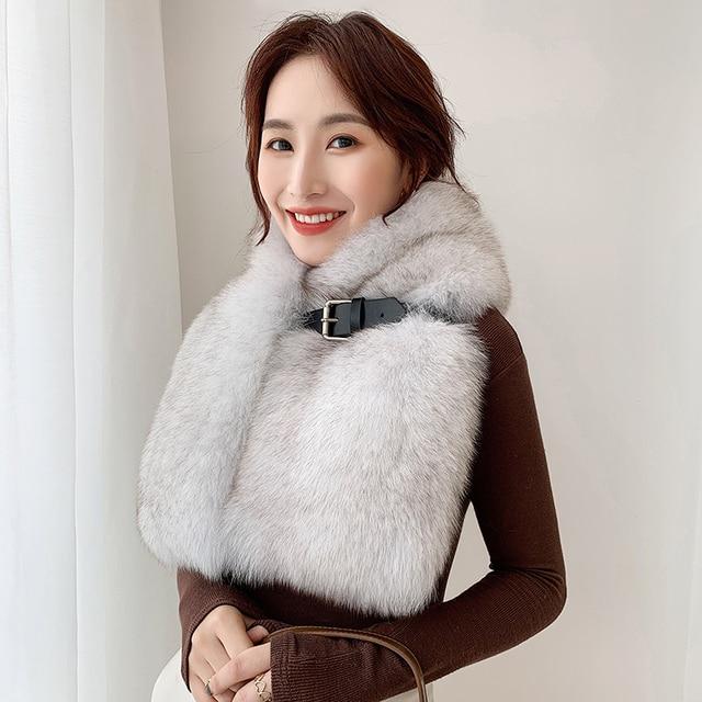 Lantafe Khoác Nỉ Mùa Đông Khăn Mở Rộng Làm Dày Thật Cáo Khăn Choàng Nữ Lưng Da Thật Toàn Bộ Cổ Lông Tự Nhiên