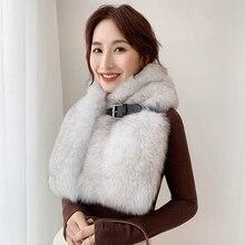 Lantafe bufanda de invierno chalina engrosamiento, bufanda de zorro Real, chal para mujer, cinturón con hebilla, Collar de piel Natural totalmente de piel