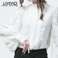 [LIVIVIO] Lace Lantern Long Sleeve Stand Neck Pearl Button White Blouse Women Shirt Female Fashion OL Tops New