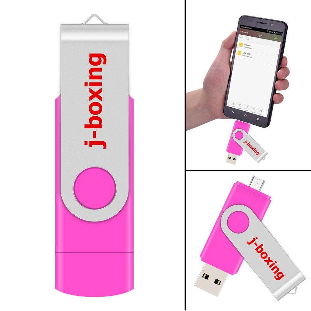 J-boxing Pink 16GB OTG USB Flash Pendrives Dual Port USB Flash Stick Micro Memory Stick For Smartphone Samsung Huawei LG Tablet