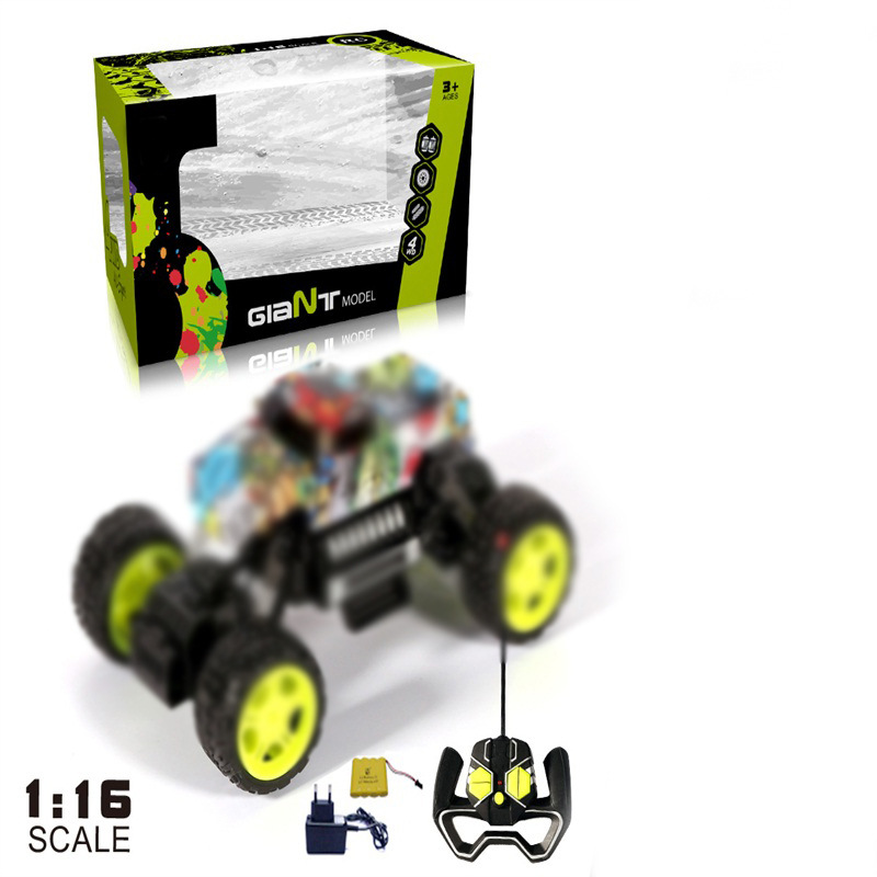 Children Graffiti Stone Electric Remote Control Toy Car 1: 16 Off-road Race Car Graffiti Climbing Toy Car