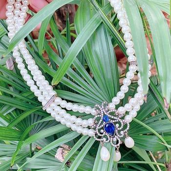 MASA Elegant Baroque Classic Multilayer Pearl Pendant Necklace for Women Metal Flash Rhinestone Fashion Bridal Moroccan Jewelry 1