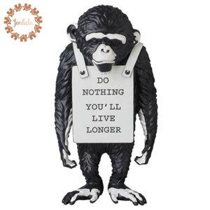 Image 1 - 36cm maymun sokak sanatı ünlü sanatçı Banksy maymun işareti heykeli yaratıcı reçine sanat ve el sanatları Modern dekorasyon ev için süsler