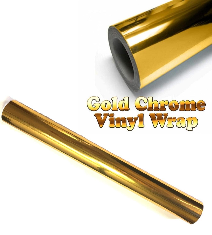 300mm x 1520mm oro cromo Aire Libre espejo vinilo envoltura película pegatina hoja calcomanía 12
